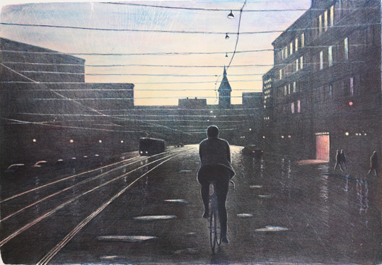 Evening Cyclist - Lithograph by Mikael Kihlman.