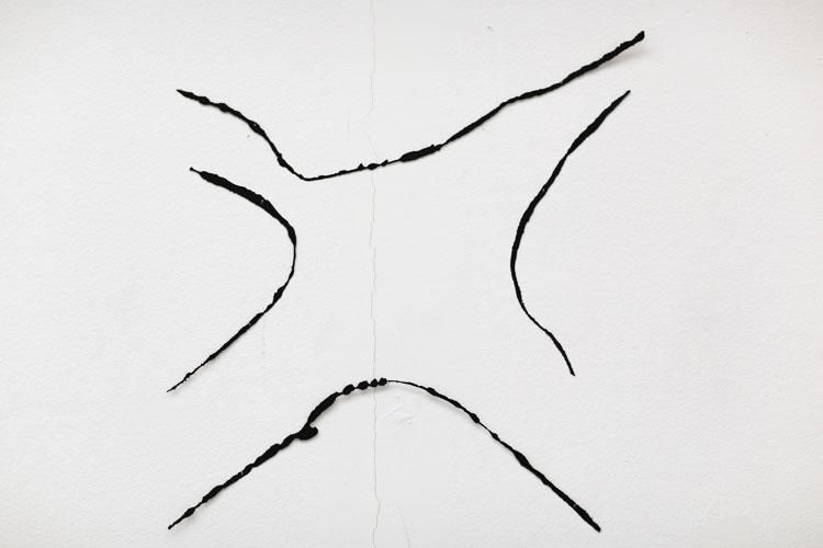"""""""Möte"""", 2001, etsat fiberstål + akryl - konstverk av Curt Asker."""
