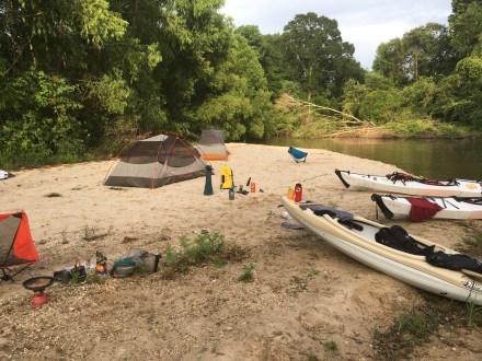 Camping on a sandbar with two Oru Kayaks