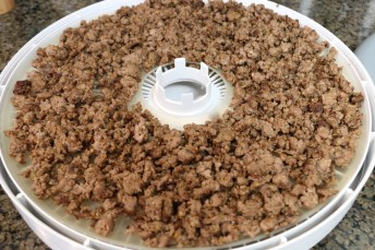 Spread beef on dehydrator tray