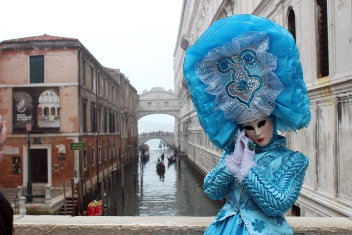 Woman in Blue Costume in Venice Italy during Carnevale