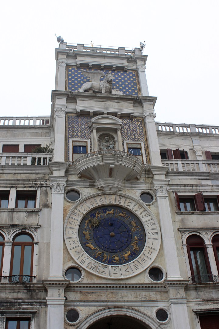 The clocktower in Saint Marks Square, Venice Italy