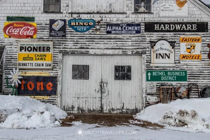 Winter in Bethel Maine | Metal Garage Signs