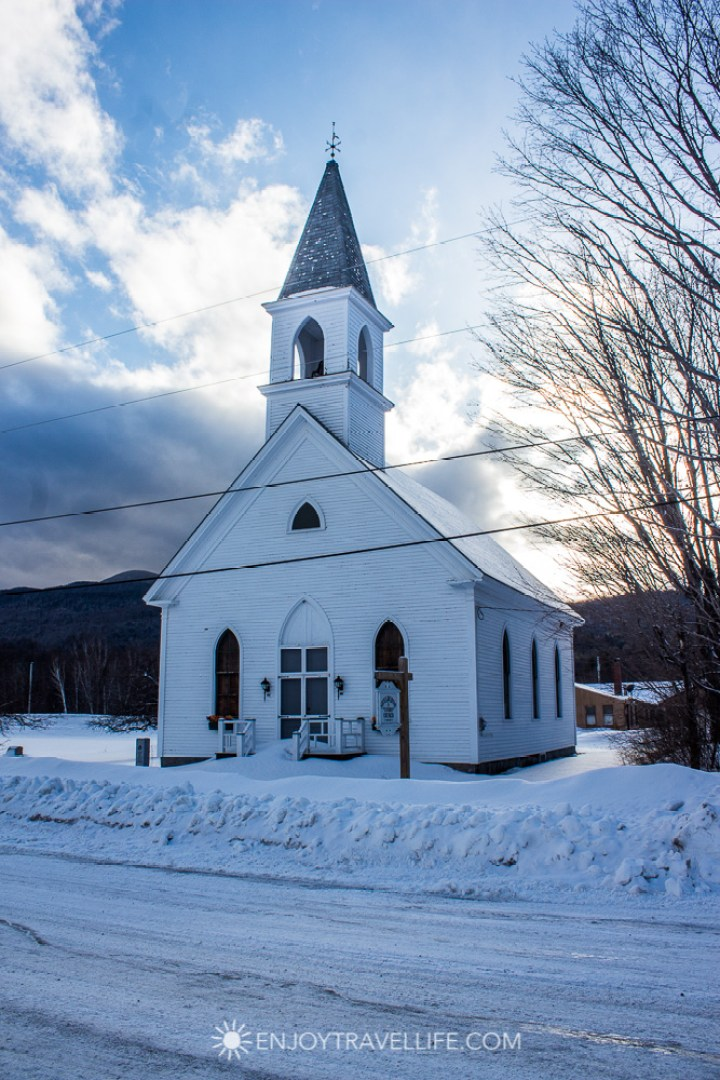 Winter in Bethel Maine | Shelburne Union Church | New England