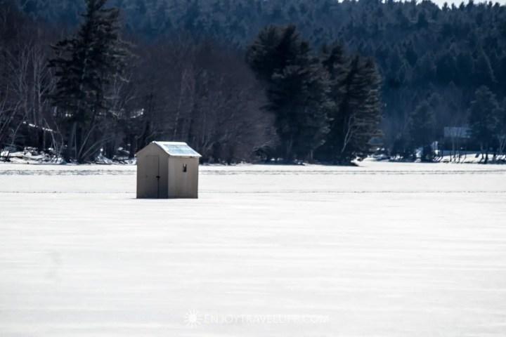 Winter in Bethel Maine | Ice Fishing Hut