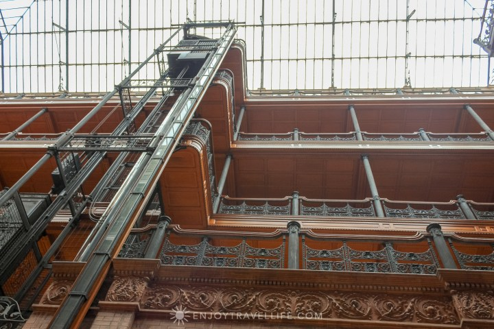 The Bradbury Building Los Angeles - central court interior view to atrium