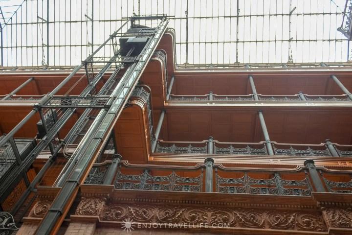 The Bradbury Building Los Angeles - central court interior view to atrium