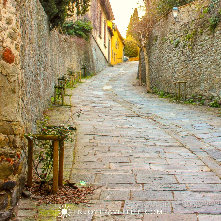Sunset over Florence Italy - Fiesole cobblestone
