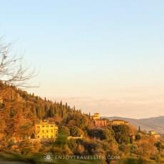 sunset over florence Italian villa