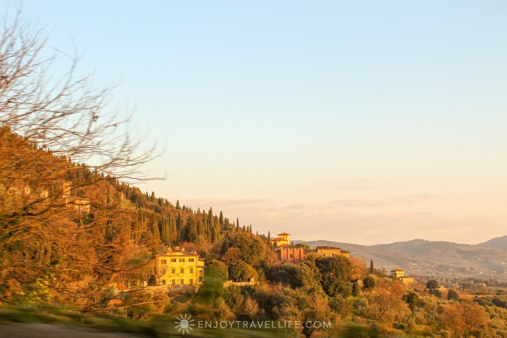 Sunset over Florence Italy - Fiesole hillside