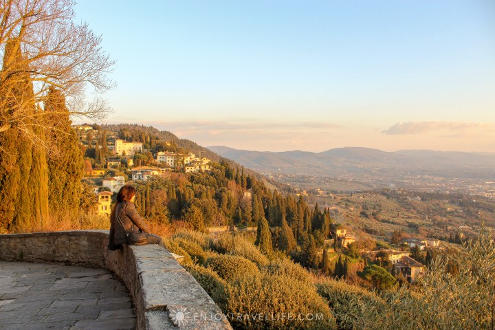 Sunset over Florence in Fiesole Italy