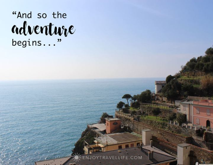 """Inspirational travel quote overlay: """"and so the adventure begins..."""" in Positano Italy"""