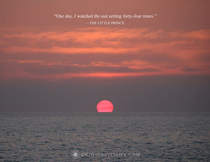 "Sunset in Vernazza Italy with inspirational quote about travel: One day, I watched the sun setting forty-four times."" —The Little Prince"