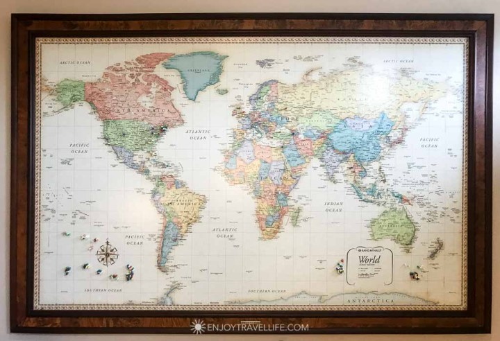 Map of the world with pins from guests at Inn on the Sound
