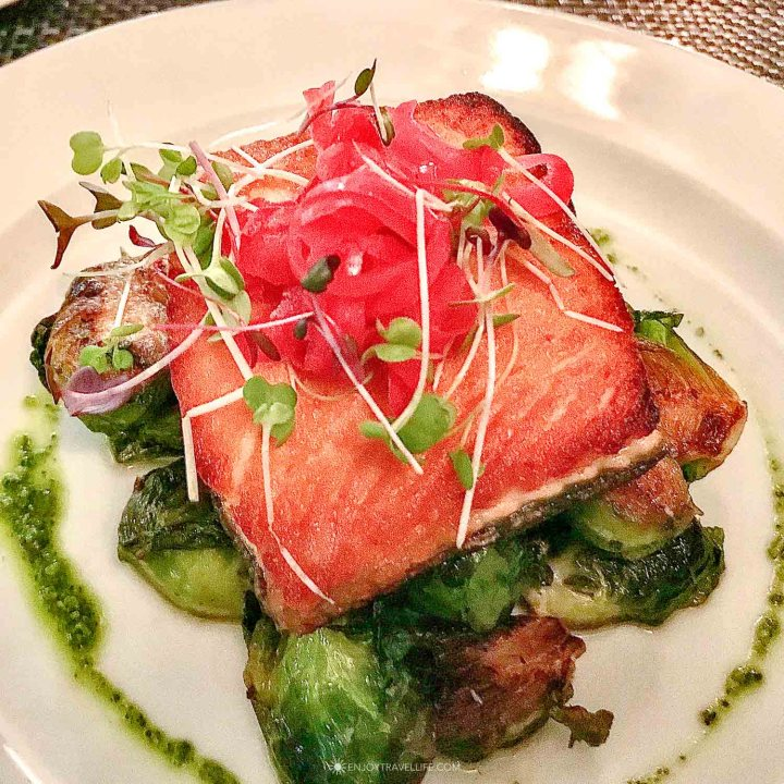Salmon over Brussels Sprouts dish at il Mol