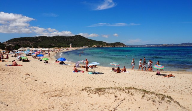 Es Cavallet beach in summer southern ibiza