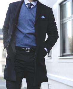 Chesterfield-frakk uten fløyelskrave i ull/kashmir fra Menswear