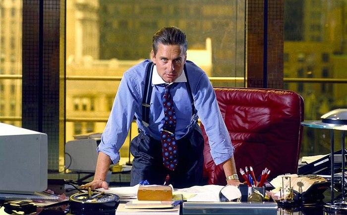 """Michael Douglas som Gordon Gekko i """"Wall Street"""" fra 1987"""