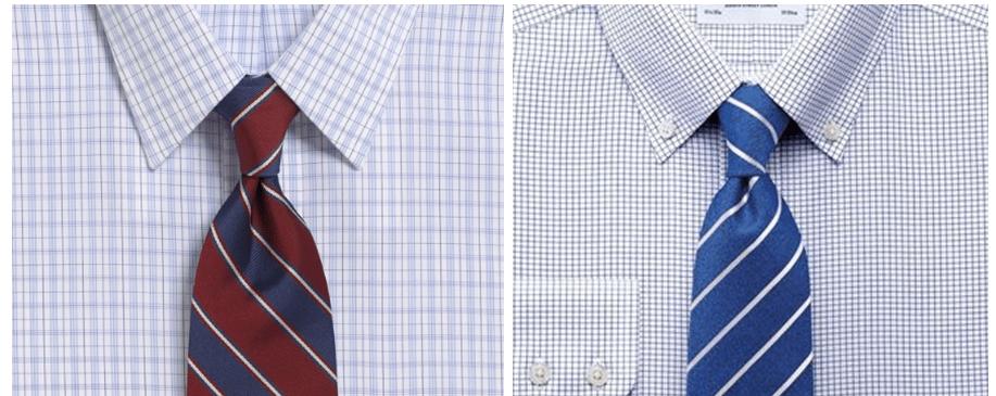 7c17a5ee Amerikans stripet slips (skjorte og slips fra Brooks Brothers) til venstre,  og engelsk (skjorte og slips fra Charles Tyrwhitt) til høyre