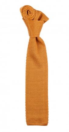 Smalt, gullfarget strikkeslips i silke fra Walker Slater. Foto: Walker Slater