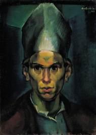 Derkovits Gyula - autoportrait avec un chapeau d'évêque, 1923