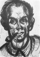 Derkovits Gyula - encre sur papier : autoportrait à la pipe, 1926