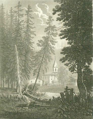 Samuel Birmann (suisse, 1793-1847) - Eglise d'Argentière, 1830