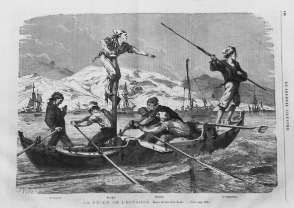 Pêche à l'espadon dans le détroit de Messine (Milazzo), 1864 - Le Journal illustré