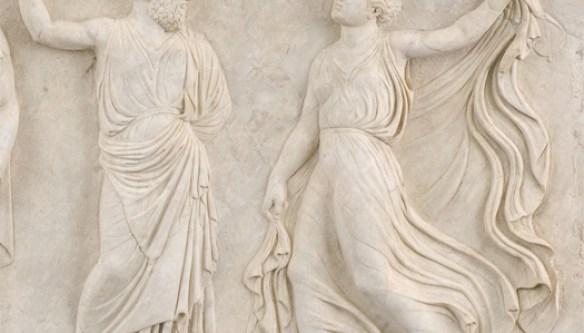 Ercolano, Divinité barbue (peut-être Dionysos) et Ménade - photo  Giorgio Massimo.