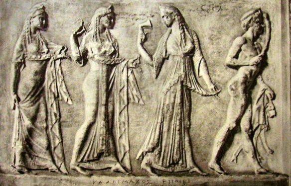 Les Heures et le dieu Pan - Bas-relief votif d'époque grecque. Musée du Capitole, Rome