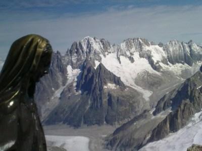 Au sommet de la Tour ronde : vue sur l'Aiguille Verte et les Droites