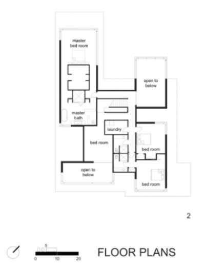 BlackWhite residence in Maryland by David Jameson Architect - Plan du niveau 1