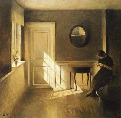 Peter Ilsted - Intérieur avec-jeune fille en train de lire -1908