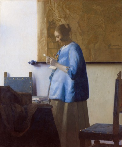 Woman reading a letter, by Johannes Vermeer