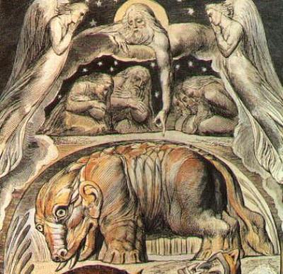 William Blake - détail de l'aquarelle de la planche 15 - Behemoth et Leviathan