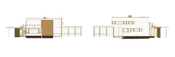 maison Gropius à Lincoln - élévations frontale et arrière