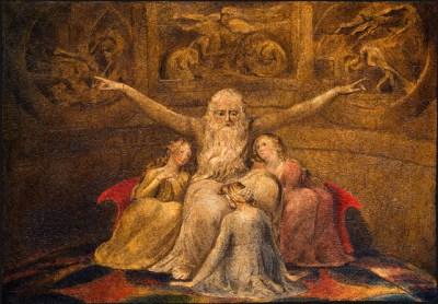William Blake - aquarelle de l'illustration de la planche 20 du Livre de Job- Job et ses filles