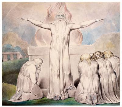 William Blake - aquarelle de l'illustration de la planche 20 du Livre de Job : le sacrifice de Job