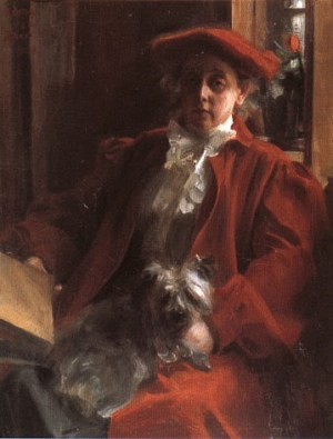 Anders Zorn - Emma Zorn and Mouche the dog, 1902