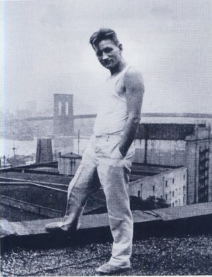 Emill Hopffer on the roof at 110 Columbia Heights, Brooklyn, 1924.