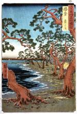 Hiroshige - Maiko Beach in Harima Province, colour woodbloc, 1854
