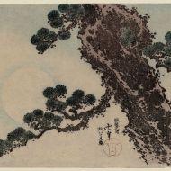 Katsushika Hokusai - Pine tree and full Moon, 1848