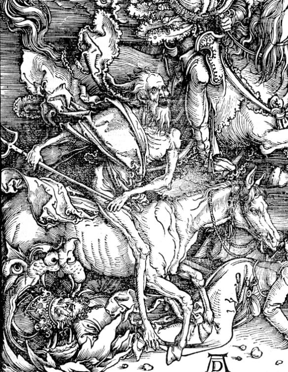 Albrecht Dürer - les quatre cavaliers de l'Apocalypse (détail),  1497-98