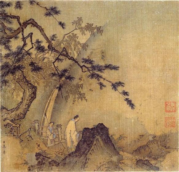 Ma Yuan - Lettré devant une cascade, vers 1200