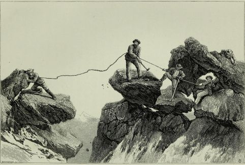 Le saut d'Almer (Almer's Leap) à la descente de la première ascension de la Barre des Écrins. Gravure d'Edward Whymper