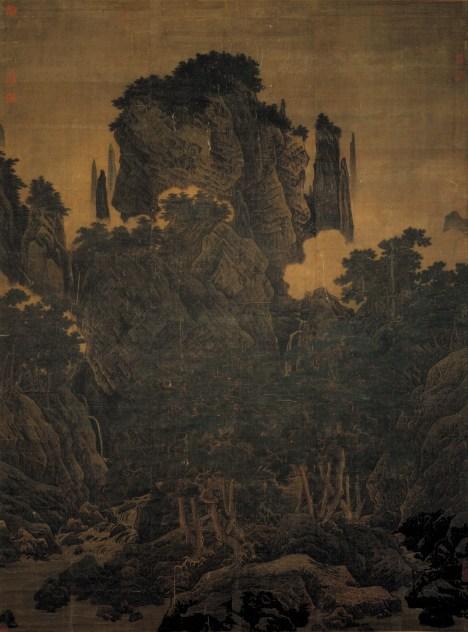 Li Tang - Sans fin, les ravins, les pins, le vent, 1124 - encre et couleur sur soie