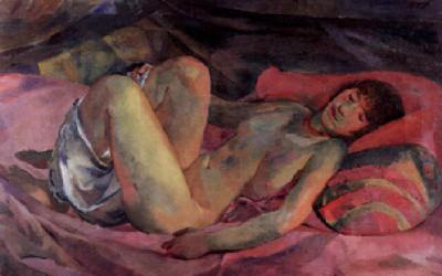 Weiblicher - Akt auf rotem Diwan, 1914