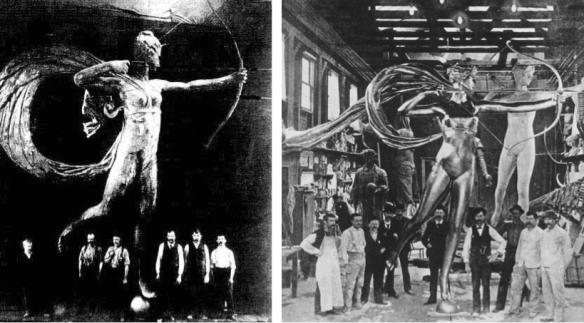 1ère et seconde versions de la Diana de Saint-Gaudens à la fonderie WH Mullins Manufacturing Company de Salem, Ohio, 1891 et 1893