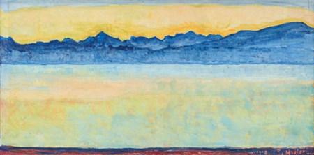 Ferdinand Hodler - le lac Léman et le Mont-Blanc à l'aube, 1918