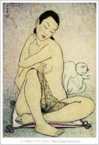 Woman and Cat   by Pan Yuliang